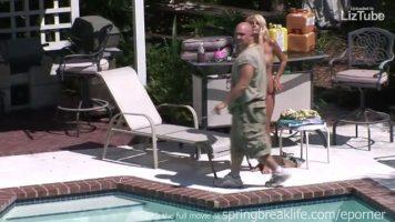 Blonde babe in the pool voyeur (720p)
